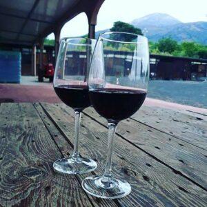 Italiaanse rode wijn Vesuvius Campanie Italië fles glas