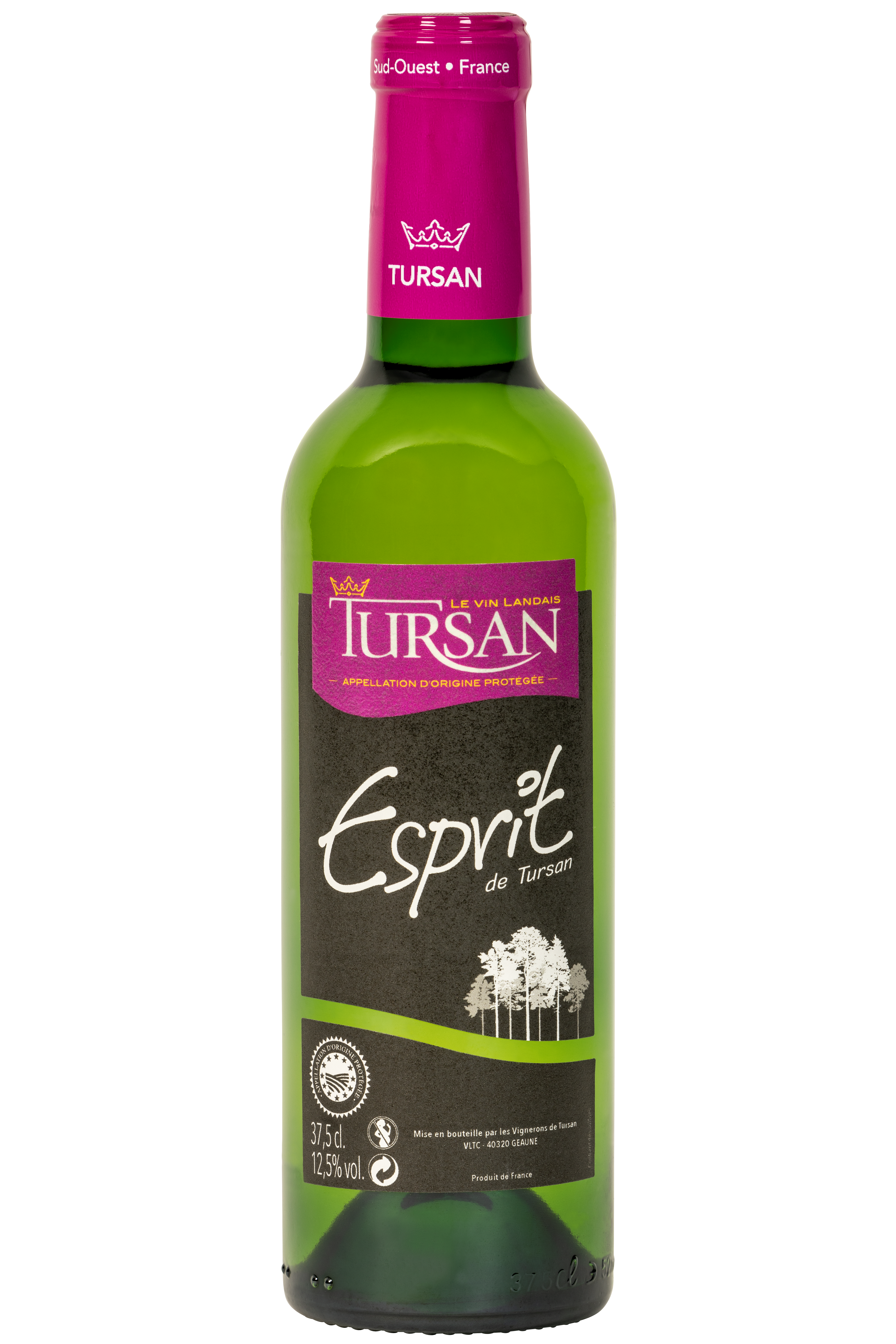 Franse droge witte wijn Tursan les Landes 37,5 klein flesje wijn