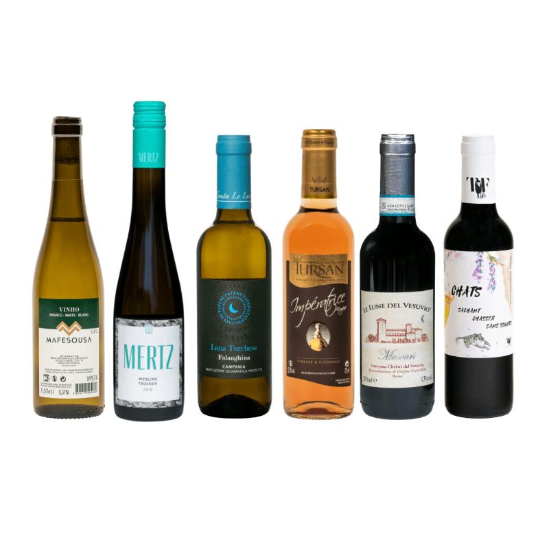 Kleine flessen wijn wijnpakket Halfes
