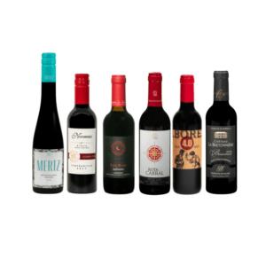 kleine flessen rode wijn